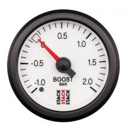 Manomètre STACK mécanique pression turbo -1.0 à +2.0 bars blanc