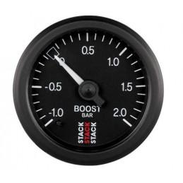 Manomètre STACK mécanique pression turbo -1.0 à +2.0 bars noir