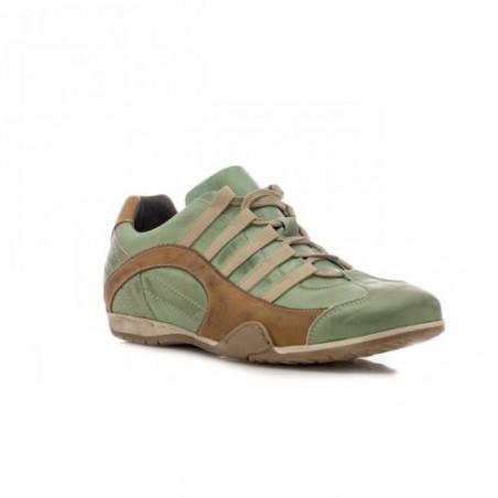 Chaussures GULF Grand Prix Original vertes et cognac en cuir pour homme