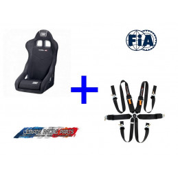 Pack FIA Baquet TRS-E XS OMP + Harnais TURN ONE 6 pts