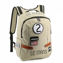 Sac à dos 24H Le Mans LEGENDE - coton beige