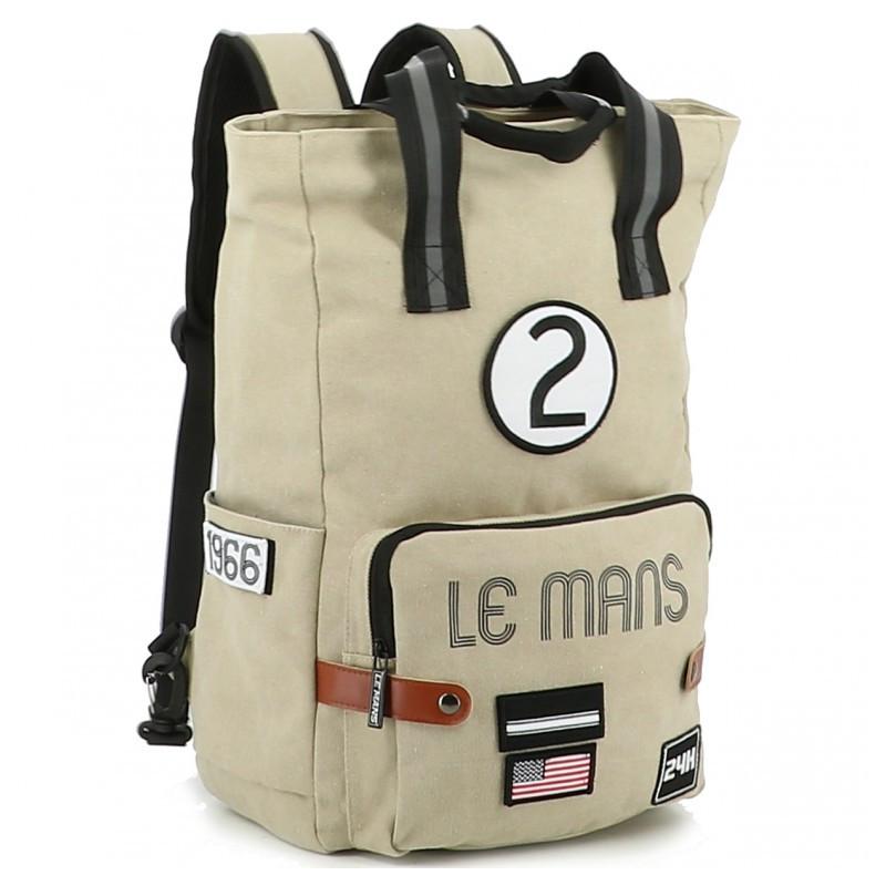 Grand sac à dos 24H Le Mans - coton beige