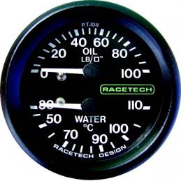 Manomètre combiné RACETECH 100 LB - 110°C LG 9 pouce 1/8BSP