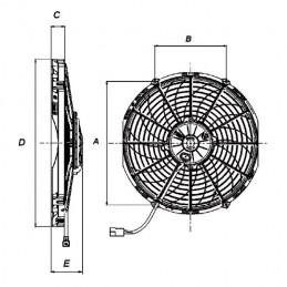 Ventilateur SPAL aspirant Ø 350 mm puissance 2 220 m3/h