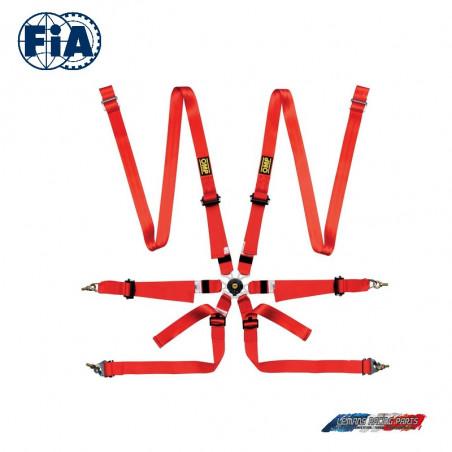Harnais FIA ONE 2 Versa 6 points rouge
