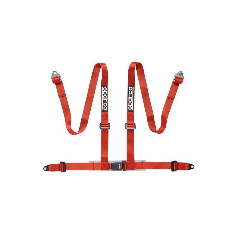 Harnais 4 points SPARCO fixations par mousquetons rouge